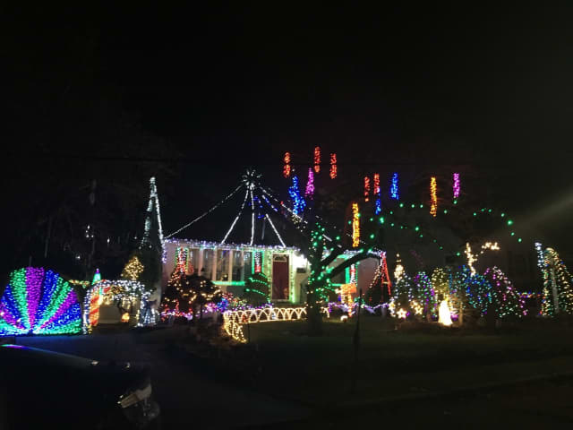 Holiday lights in Ossining.