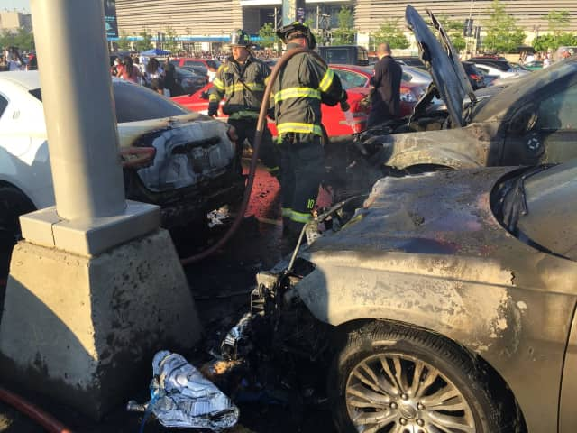 Cars caught fire at MetLife Stadium over the weekend.