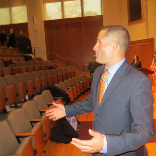 Dutchess County Executive Marc Molinaro talks to several county employees after he introduced his tentative budget for 2016. His annual State of the County address is set for 5 p.m. Feb. 28 at the Culinary Institute of America.