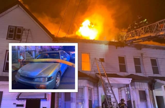 A car blocking a fire hydrant didn't stop firefighters from knocking down a three-alarm blaze around 2 a.m. Sunday.