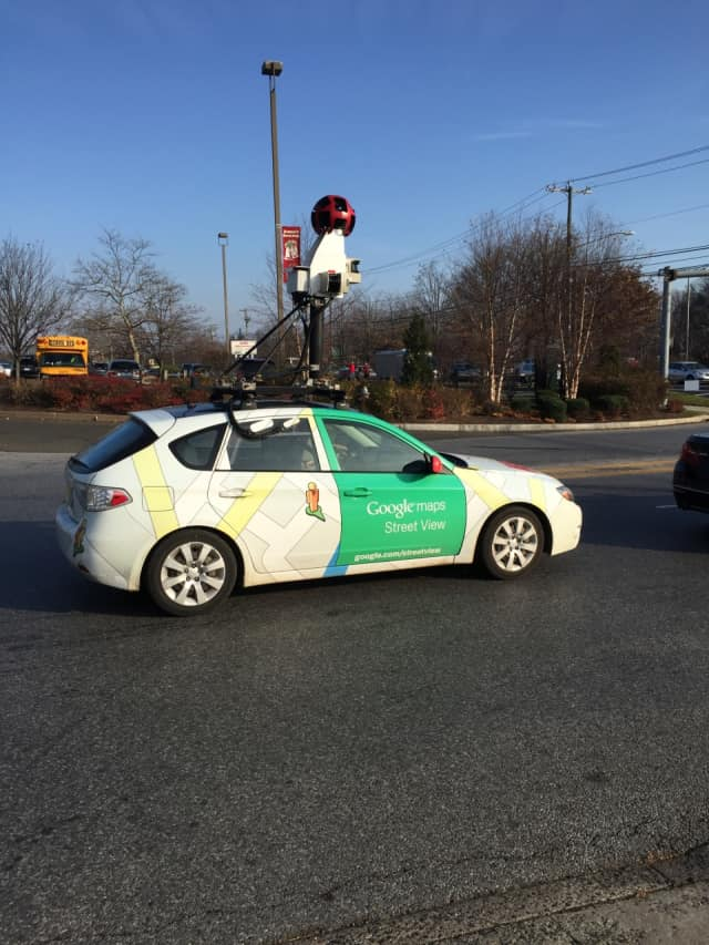 A Google Maps Street View made an appearance at the Riverside Commons Shopping Center Thursday afternoon.