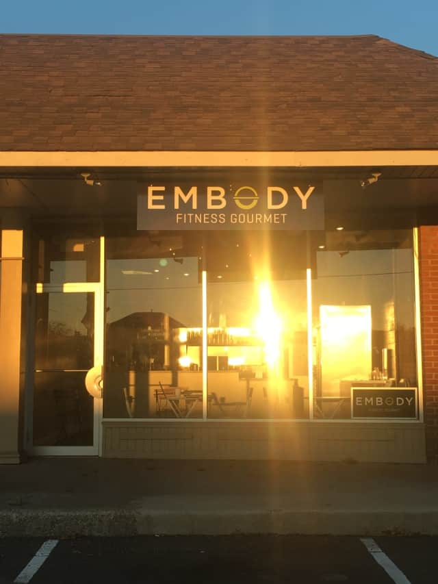 Embody Fitness Gourmet has this storefront next to Pure Barre and Heights Pizza in the Palmer's Market Shopping Center at 264 Heights Road since moving out of the juice bar at Equinox in Darien.