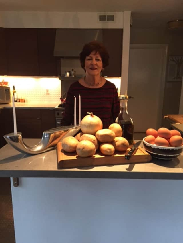 Avril Kaye of Port Chester-based Avril Kaye Caterers with her tried and tested potato latkes.
