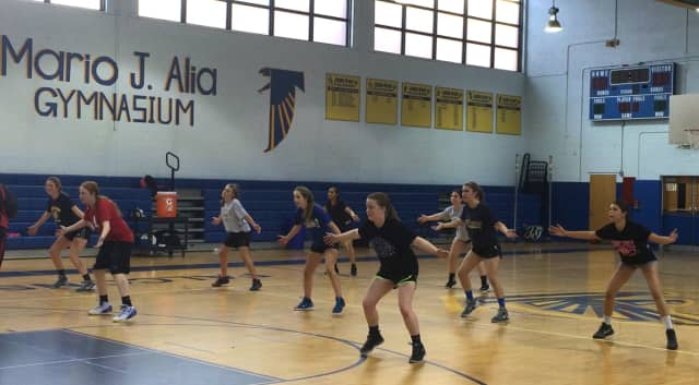 The Saddle Brook girls basketball team practices at the high school Monday, Jan. 25.