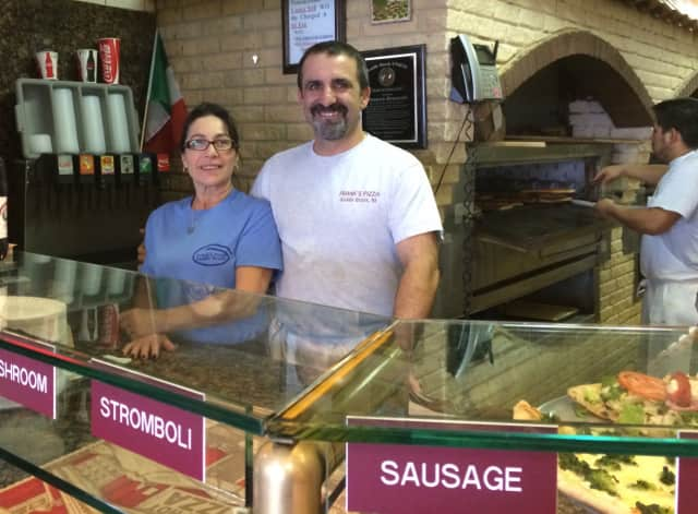 Owner Jerry Gencarelli, right, at Frank's Pizza in Saddle Brook.
