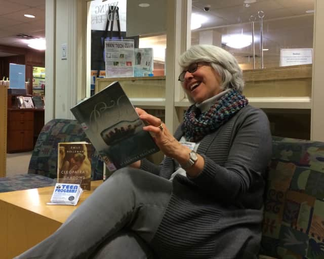 Gina Mitgang sits in the teen lounge at the Ridgewood Public Library.