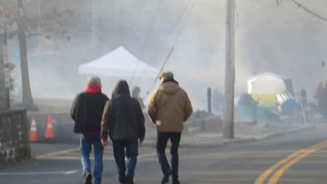 """Filming in Westchester County for """"The Girl on the Train"""" wrapped up earlier this year. In this scene along Station Road in Irvington, fake fog was generated in the background."""