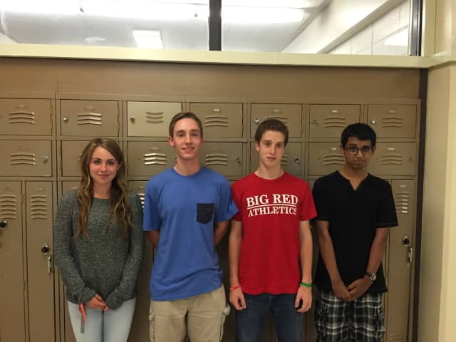 National Merit semifinalists from White Plains High School, from left: Sinead Hunt, Michael Ainsworth, Jacob Brady and Justin George.
