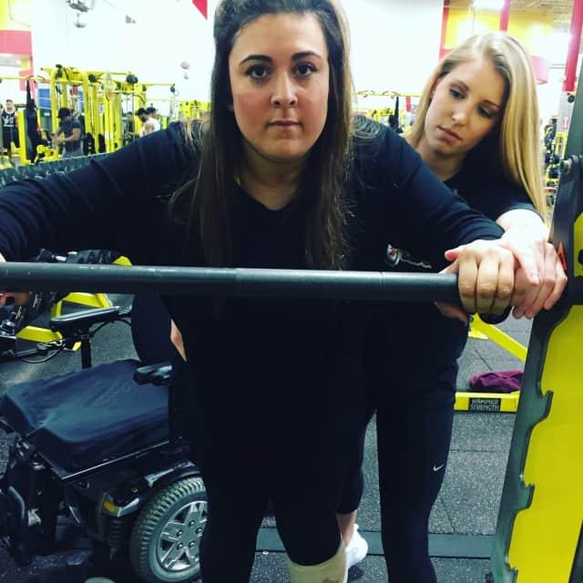 Lauren LaPorta with trainer Erica Little at Retro Fitness of Hackensack.