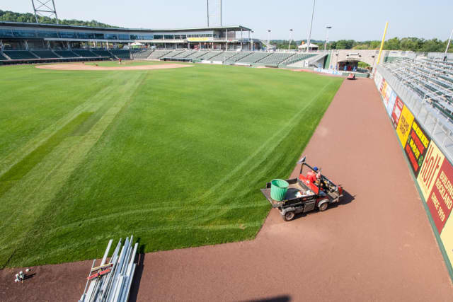 The field at Provident Bank Park in Ramapo is undergoing repairs.