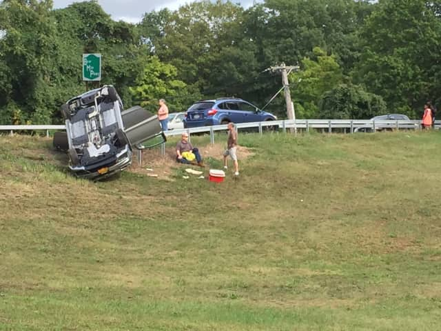 A car rolled over on Route 6 on the Bear Mountian Parkway.