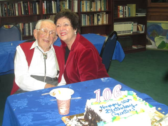 Gunter Lorenz celebrates his 106th birthday with his wife, Sylvie.