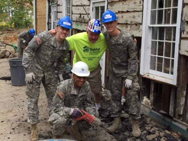 West Point cadets assist Habitat for Humanity on a project in Chappaqua.