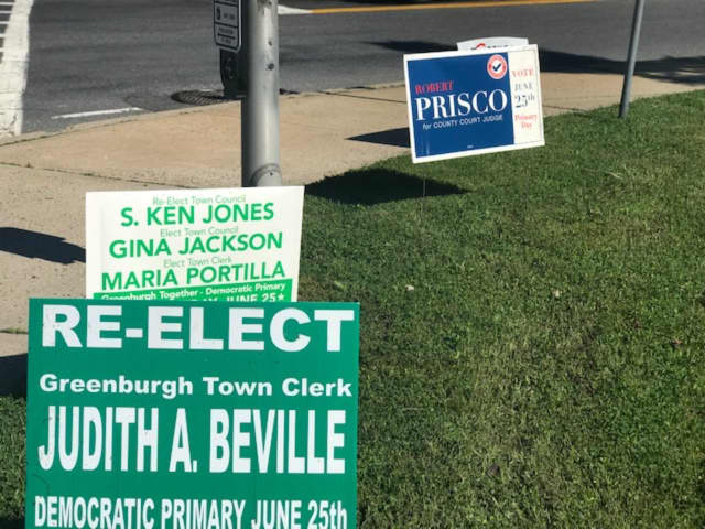 Signs of primary election season in Westchester.