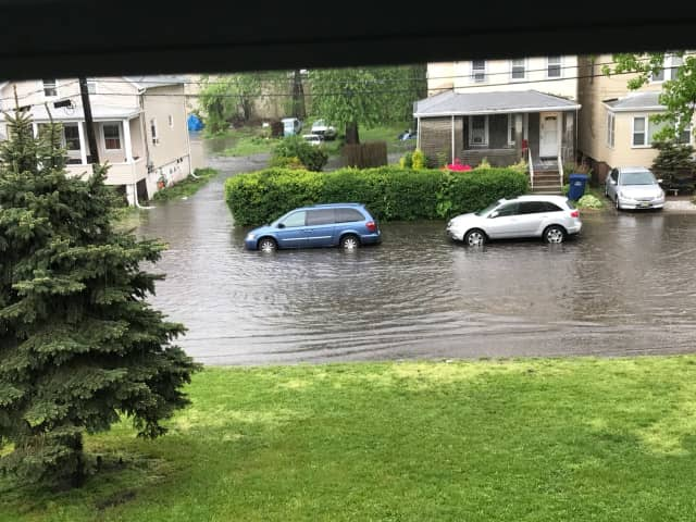 Flooding closed several streets around Bergen County Friday. Here is one near Hackensack High School.
