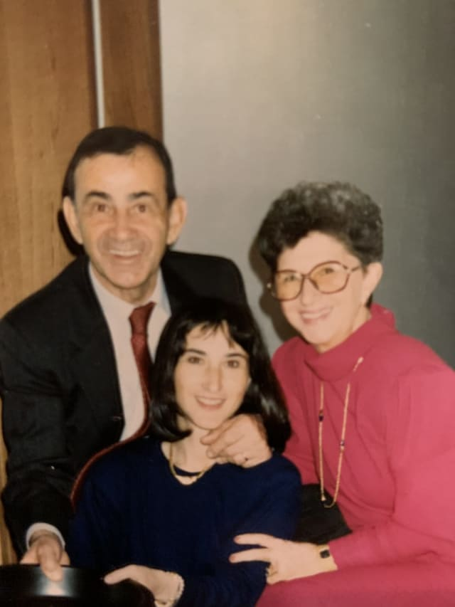 "Ella Scheinwald with her parents. ""Of all the children,"" she said, ""I was the one my father chose to tell."""