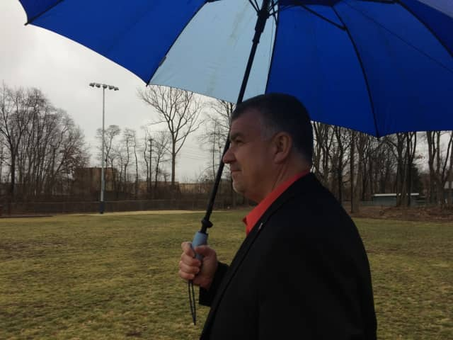 Elmwood Park Councilman Joe Dombrowski overlooks English Avenue Park Tuesday.