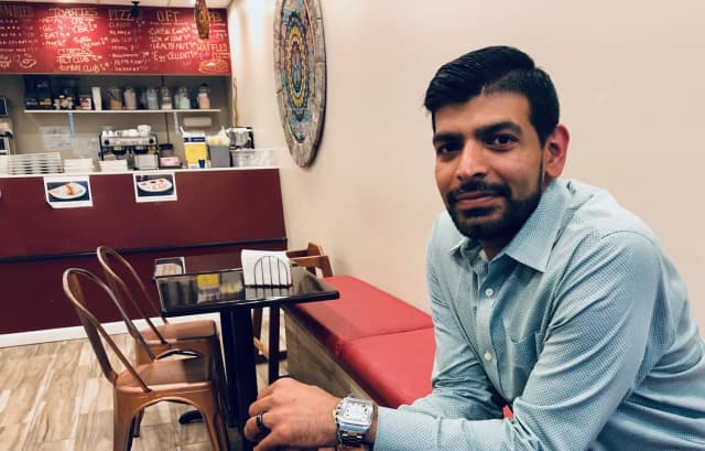 Chirag Trivedi in TimeOut Cafe on River Edge Avenue in New Milford.