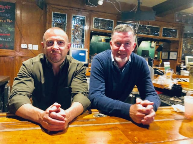 The Craftsman owners David Casey, left, Philip Quilter, at the new Fair Lawn location -- expected to open St. Paddy's Day 2020.