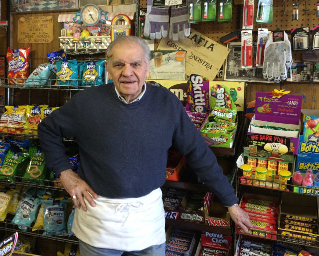 Vincent Cardazone surrounded by sweets at Cardy's Sugar Bowl in Lodi.