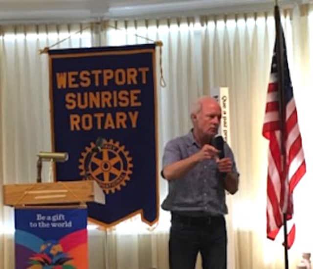 Storyteller John O'Hern speaks at the Westport Sunrise Rotary.