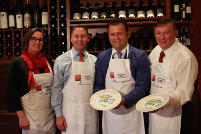 From left to right, Westchester County Executive Rob Astorino joined Janet Crawshaw, publisher of The Valley Table magazine with Benjamin Prelvukaj and Benjamin Sinanaj, owners of Benjamin Steakhouse, to kick off Hudson Valley Restaurant Week (HVRW).