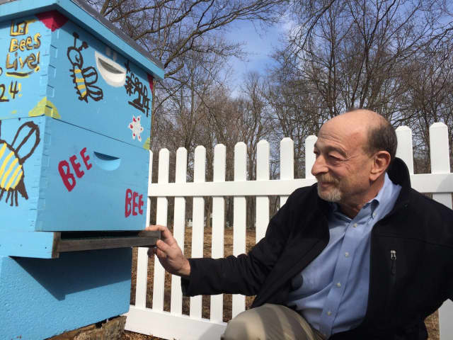 Richard Schluger checks on the beehive at Larkin House in Wyckoff.