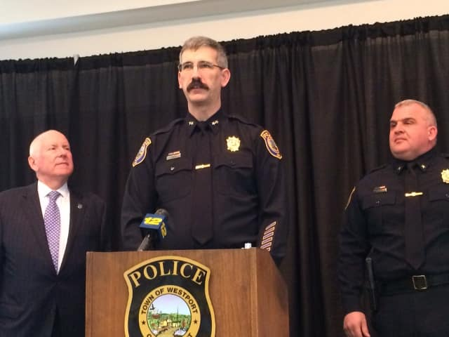 Westport Police Chief Dale Call announced his retirement Tuesday, as First Selectman James Marpe and Deputy Chief Fotios Koskinas, who will replace him, look on.