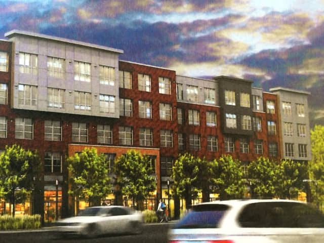 An artist's rendering of the retail/apartment complex planned for 665 Commerce Drive in Fairfield