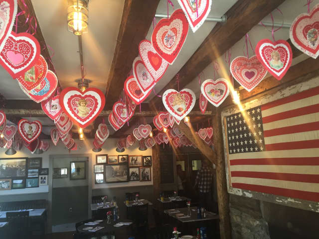 The ceiling at Purdys Farmer & The Fish has been decorated with hearts to help raise money for Friends of Karen.