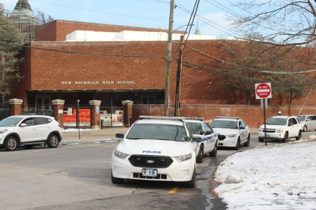 There was an increased police presence outside New Rochelle High School.