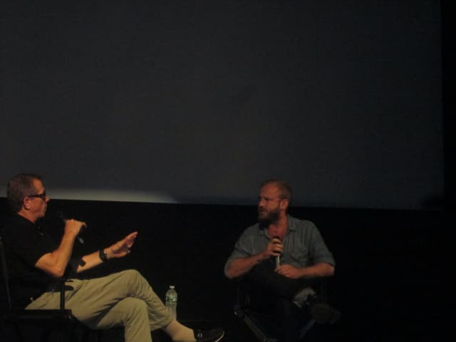 "Ben Foster (r) discusses his new film ""Hell or High Water"" with Marshall Fine at The Picture House."