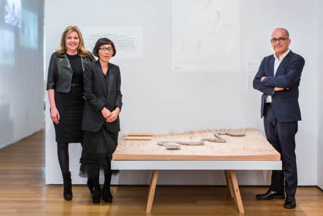 "Grace Farms Foundation President Sharon Prince, Kazuyo Sejima of SANAA, and Pedro Gadanho, curator of the exhibition ""A Japanese Constellation: Toyo Ito, SANAA, and Beyond."""