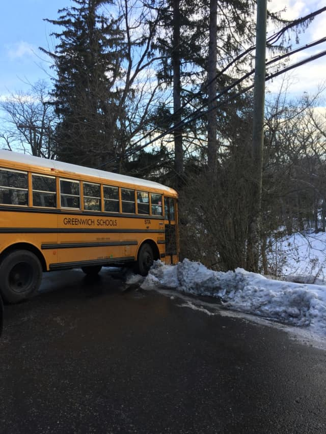 A Greenwich school bus nearly slid off the road on Taconic at North Street on Monday morning. Schools were not on a delay in Greenwich.