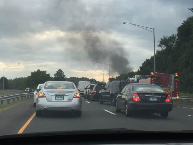 Traffic was slowed after a vehicle fire on Route 8 southbound near Exit 7 in Trumbull.