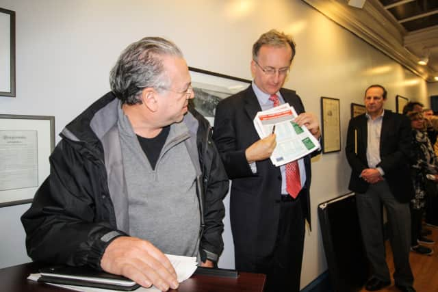An Architect shows the TZ Vista plan at a Nyack village board meeting