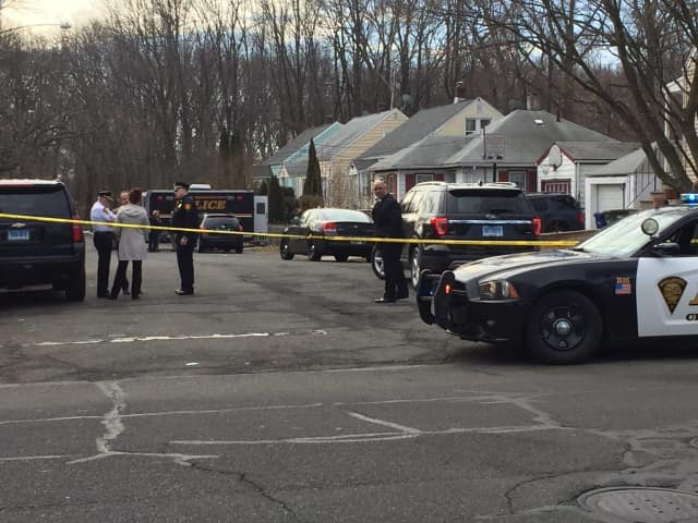 A crime scene in Bridgeport earlier this year.