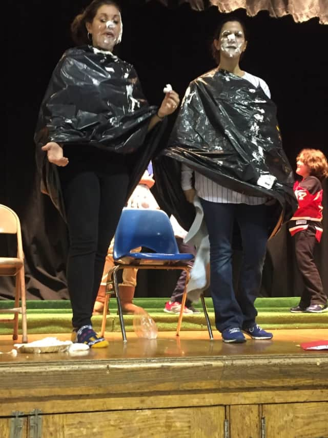Saddle Brook students watched as the Franklin School's principal, Toni Violetti, and third grade teacher, Fara DiSalvo, got pied in the face.