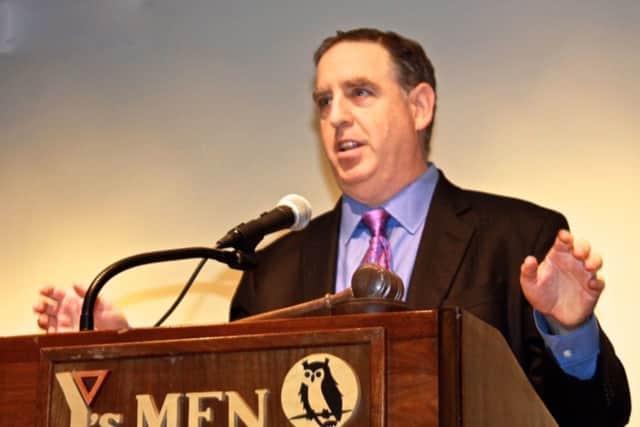 Doug Schwartz, Quinnipiac University's poll director, talks to the Y's Men of Westport/Weston about the recent presidential election.