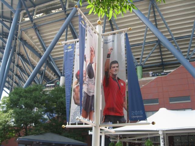 A banner for 2015 champ Novak Djokovic. Photos by author.