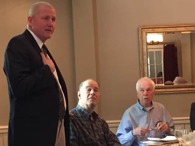 Jim Killoran, CEO of Habitat for Humanity of Westchester, speaks to the Chappaqua Rotary.