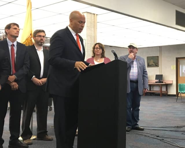 U.S. Senator Cory Booker introduces a new drinking water legislation at Hackensack High School Monday.