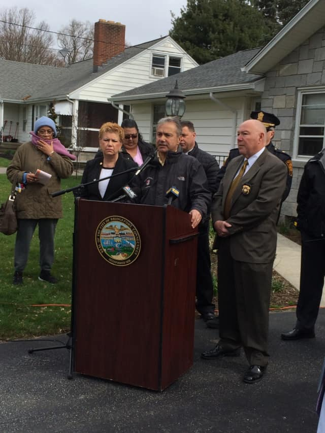 Sacred Heart Dean of Students Larry Weilk addresses the issue of underage drinking on April 7 after a bust at a Bridgeport bar. Bridgeport City Councilwoman Michelle Lyons and Police Chief AJ Perez look on.
