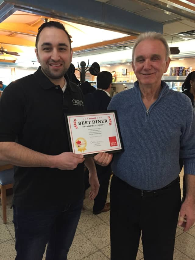 Demetris, left, and Vasilios (Bill), right, Papanikolaou, the owners of Orem's Diner in Wilton.