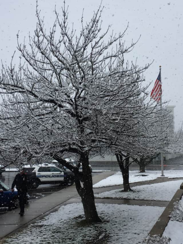 It was a snowy scene outside the Stamford Police Department on Friday.