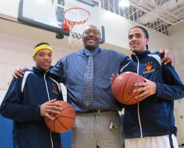 From left, Andre Carthorn, 18, of Dobbs Ferry, head coach Anthony Gaines, and Antonio Lowden, 18, of Yonkers.