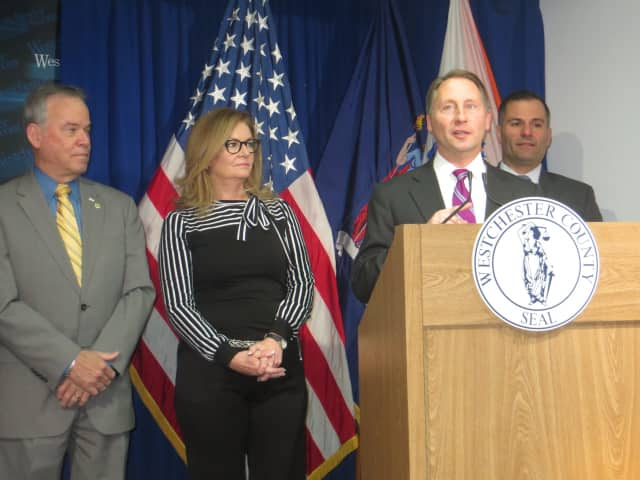 Westchester County Executive Rob Astorino speaking at Monday's news conference in White Plains. Joining him, from left, are Rockland County Executive Ed Day, Putnam County Executive MaryEllen Odell and Dutchess County Executive Marc Molinaro.