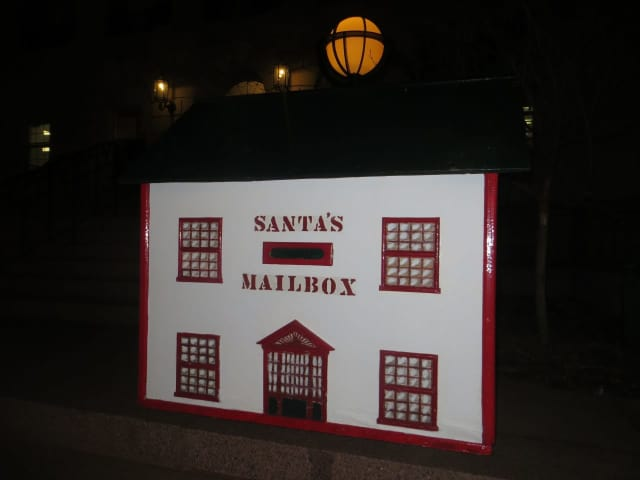 Santa's mailbox located near the front steps of White Plains City Hall, Main Street. It's next door to WalMart and across the street from Target.