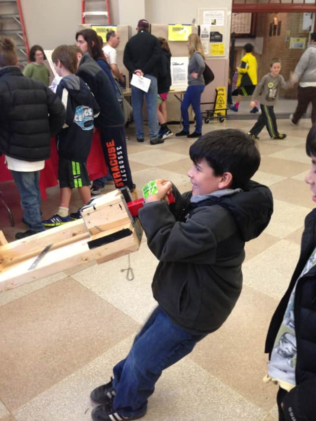 Kids had a chance to experiment with pulleys at a previous Super Science Saturday.