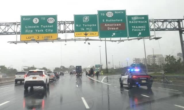 Lights fell or were left hanging from the signs on eastbound Route 3 in East Rutherford.